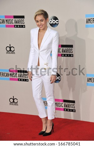 LOS ANGELES, CA - NOVEMBER 24, 2013: Miley Cyrus at the 2013 American Music Awards at the Nokia Theatre, LA Live.