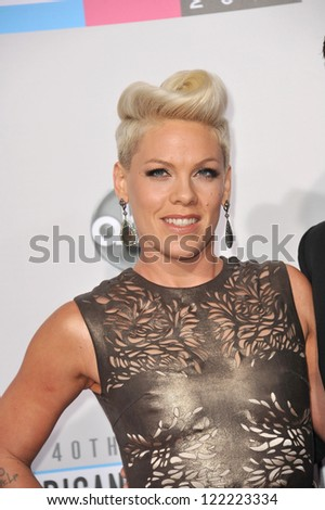 LOS ANGELES, CA - NOVEMBER 18, 2012: Pink at the 40th Anniversary American Music Awards at the Nokia Theatre LA Live.