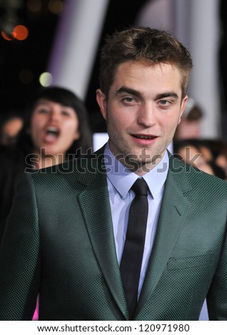 "LOS ANGELES, CA - NOVEMBER 12, 2012: Robert Pattinson at the world premiere of his movie ""The Twilight Saga: Breaking Dawn - Part 2"" at the Nokia Theatre LA Live."