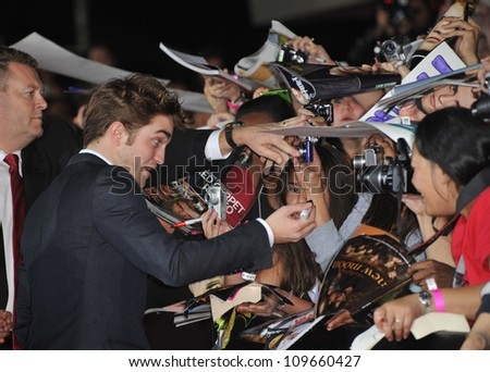 "LOS ANGELES, CA - NOVEMBER 16, 2009: Robert Pattinson at the world premiere of his new movie ""The Twilight Saga: New Moon"" at Mann Village & Bruin Theatres, Westwood."