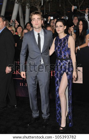 "LOS ANGELES, CA - NOVEMBER 14, 2011: Robert Pattinson & Kristen Stewart at the world premiere of ""The Twilight Saga: Breaking Dawn - Part 1"". November 14, 2011  Los Angeles, CA"