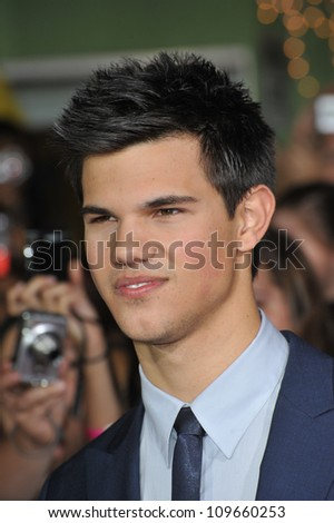 "LOS ANGELES, CA - NOVEMBER 16, 2009: Taylor Lautner at the world premiere of his new movie ""The Twilight Saga: New Moon"" at Mann Village & Bruin Theatres, Westwood. - stock photo"