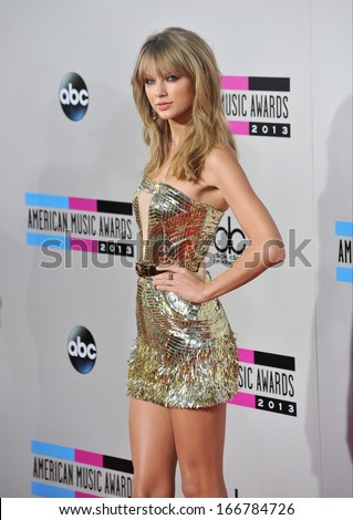 LOS ANGELES, CA - NOVEMBER 24, 2013: Taylor Swift at the 2013 American Music Awards at the Nokia Theatre, LA Live.