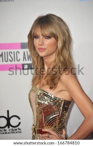 LOS ANGELES, CA - NOVEMBER 24, 2013: Taylor Swift at the 2013 American Music Awards at the Nokia Theatre, LA Live.