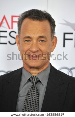 """LOS ANGELES, CA - NOVEMBER 7, 2013: Tom Hanks at the premiere of his movie """"Saving Mr Banks"""", the opening movie of the AFI FEST 2013, at the TCL Chinese Theatre, Hollywood."""