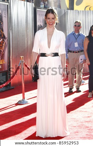LOS ANGELES, CA - OCT 2: Evangeline Lilly at the 'Real Steel' premiere at the Gibson Amphitheater at Universal Studios in Los Angeles, California on October 2, 2011