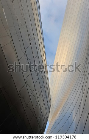 LOS ANGELES, CA - OCTOBER 18: A fisheye view of the Walt Disney Concert Hall in Los Angeles, California on October 18, 2012. It was designed by Frank Gehry and opened on October 24, 2003.