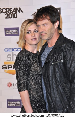 LOS ANGELES, CA - OCTOBER 16, 2010: Anna Paquin & husband Stephen Moyer at Spike TV's 2010 Scream Awards at the Greek Theatre, Griffith Park, Los Angeles.