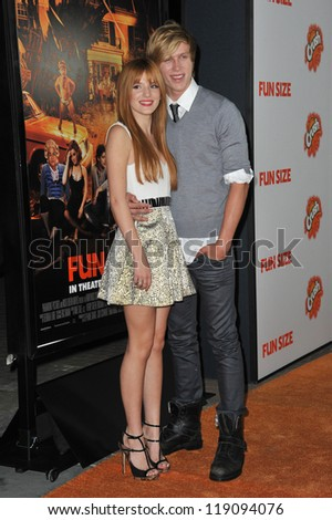 """LOS ANGELES, CA - OCTOBER 25, 2012: Bella Thorne & boyfriend Tristan Klier at the Los Angeles premiere of her new movie """"Fun Size"""" at the Paramount Theatre, Hollywood."""