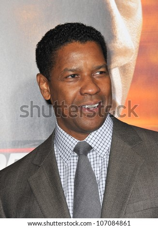 "LOS ANGELES, CA - OCTOBER 26, 2010: Denzel Washington at the world premiere of his new movie ""Unstoppable"" at the Regency Village Theatre, Westwood."