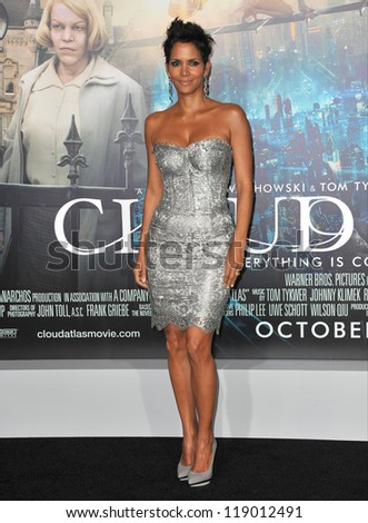 "LOS ANGELES, CA - OCTOBER 24, 2012: Halle Berry at the Los Angeles premiere of her new movie ""Cloud Atlas"" at Grauman's Chinese Theatre, Hollywood."