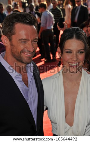 "LOS ANGELES, CA - OCTOBER 2, 2011: Hugh Jackman & Evangeline Lilly at the Los Angeles premiere of their new movie ""Real Steel"" at Universal Studios Hollywood. October 2, 2011  Los Angeles, CA"