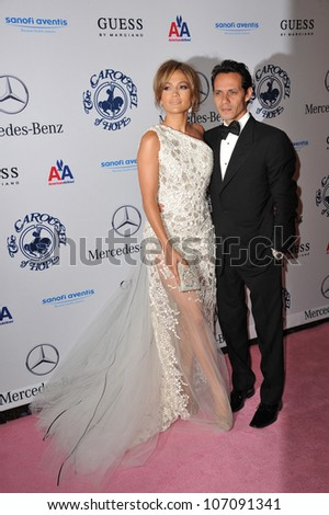 LOS ANGELES, CA - OCTOBER 23, 2010: Jennifer Lopez & husband Marc Anthony at the 32nd Anniversary Carousel of Hope Ball at the Beverly Hilton Hotel.
