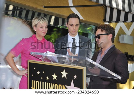 LOS ANGELES, CA - OCTOBER 29, 2014:  Kaley Cuoco & co-stars from The Big Bang Theory - Jim Parsons & Johnny Galecki - on Hollywood Blvd where she received star on the Hollywood Walk of Fame.