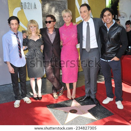 LOS ANGELES, CA - OCTOBER 29, 2014:  Kaley Cuoco & co-stars from The Big Bang Theory - Johnny Galecki, Jim Parsons, Simon Helberg, Kunal Nayyar & Melissa Rauch - at her star ceremony on Walk of Fame.