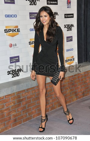 LOS ANGELES, CA - OCTOBER 16, 2010: Nina Dobrev at Spike TV's 2010 Scream Awards at the Greek Theatre, Griffith Park, Los Angeles.