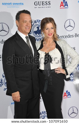 LOS ANGELES, CA - OCTOBER 23, 2010: Tom Hanks & wife Rita Wilson at the 32nd Anniversary Carousel of Hope Ball at the Beverly Hilton Hotel.