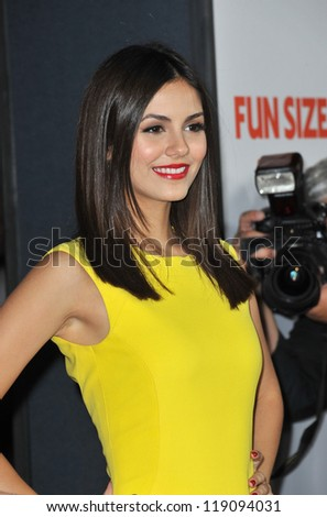 "LOS ANGELES, CA - OCTOBER 25, 2012: Victoria Justice at the Los Angeles premiere of her new movie ""Fun Size"" at the Paramount Theatre, Hollywood."
