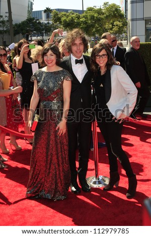 LOS ANGELES, CA - SEP 15: Carrie Brownstein, Jonathan Krisel, Karey Dornetto at the 2012 Creative Arts Emmy Awards at Nokia Theater on September 15, 2012 in Los Angeles, CA