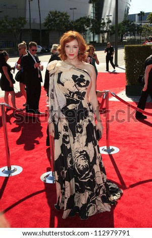 LOS ANGELES, CA - SEP 15: Christina Hendricks at the Academy Of Television Arts & Sciences 2012 Creative Arts Emmy Awards held at Nokia Theater on September 15, 2012 in Los Angeles, California - stock photo