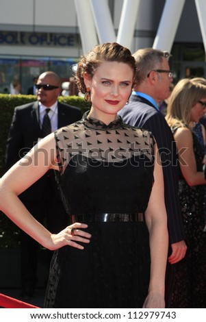 LOS ANGELES, CA - SEP 15: Emily Deschanel at the Academy Of Television Arts & Sciences 2012 Creative Arts Emmy Awards held at Nokia Theater L.A. LIVE on September 15, 2012 in Los Angeles, California - stock photo