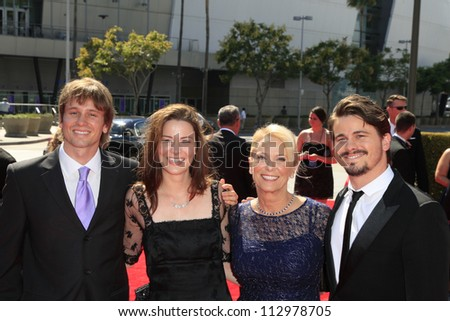 LOS ANGELES, CA - SEP 15: Jason Ritter, mother, brother, sister at the Academy Of Television Arts & Sciences 2012 Creative Arts Emmy Awards at Nokia Theater on September 15, 2012 in Los Angeles, CA - stock photo