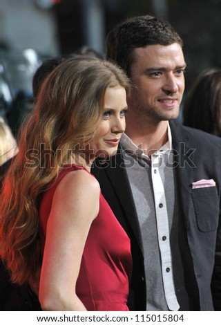"""LOS ANGELES, CA - SEPTEMBER 19, 2012: Amy Adams & Justin Timberlake at the premiere of their movie """"Trouble With The Curve"""" at the Mann Village Theatre, Westwood."""