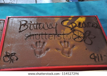 LOS ANGELES, CA - SEPTEMBER 11, 2012: Britney Spears' Handprints at Grauman's Chinese Theatre, Hollywood, where the judges for X Factor USA were honored.