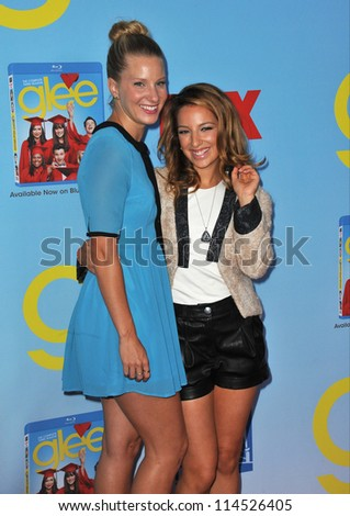 "LOS ANGELES, CA - SEPTEMBER 12, 2012: Heather Morris & Vanessa Lengies (right) at the season four premiere of ""Glee"" at Paramount Studios, Hollywood."