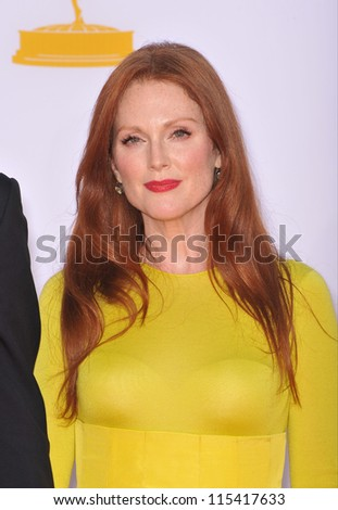 LOS ANGELES, CA - SEPTEMBER 23, 2012: Julianne Moore at the 64th Primetime Emmy Awards at the Nokia Theatre LA Live.