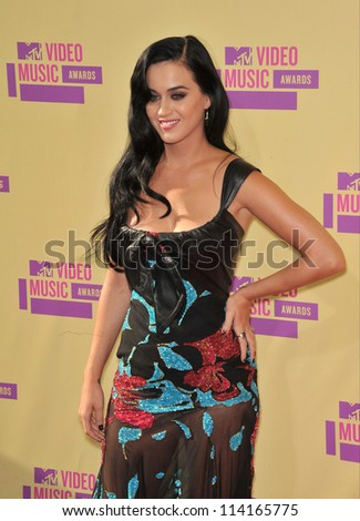 LOS ANGELES, CA - SEPTEMBER 6, 2012: Katy Perry at the 2012 MTV Video Music Awards at Staples Center, Los Angeles.