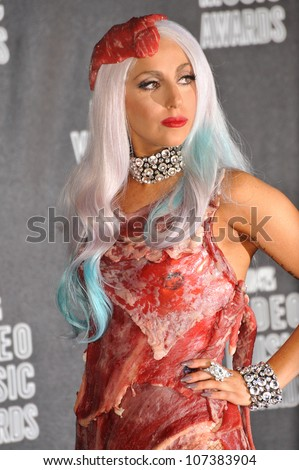 LOS ANGELES, CA - SEPTEMBER 12, 2010: Lady GaGa at the 2010 MTV Video Music Awards at the Nokia Theatre L.A. Live in downtown Los Angeles.
