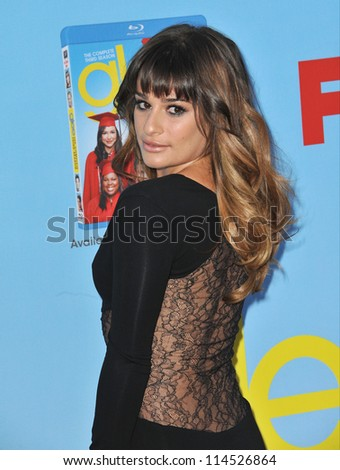 "LOS ANGELES, CA - SEPTEMBER 12, 2012: Lea Michele at the season four premiere of ""Glee"" at Paramount Studios, Hollywood."