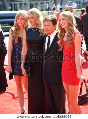LOS ANGELES, CA - SEPTEMBER 15, 2012: Michael J. Fox & wife Tracy Pollan & daughters at the 2012 Primetime Creative Emmy Awards at the Nokia Theatre, LA Live.
