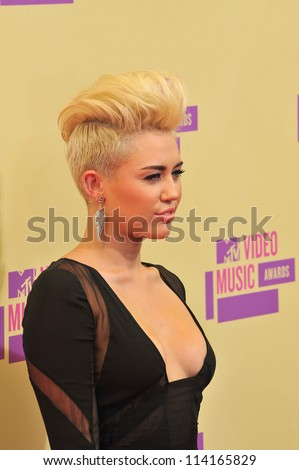 LOS ANGELES, CA - SEPTEMBER 6, 2012: Miley Cyrus at the 2012 MTV Video Music Awards at Staples Center, Los Angeles.