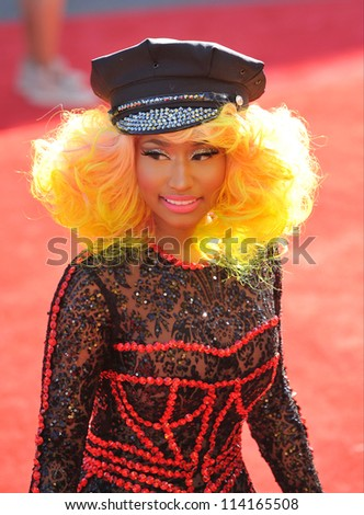 LOS ANGELES, CA - SEPTEMBER 6, 2012: Nicky Minaj at the 2012 MTV Video Music Awards at Staples Center, Los Angeles.