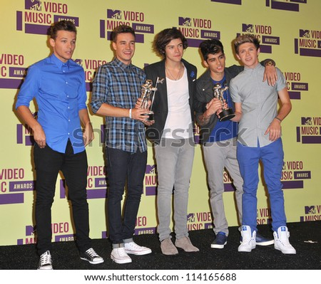 LOS ANGELES, CA - SEPTEMBER 6, 2012: One Direction at the 2012 MTV Video Music Awards at the Staples Center, Los Angeles. - stock photo