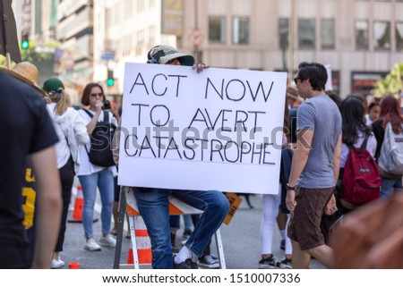 LOS ANGELES, CA - SEPTEMBER 20, 2019: Students of all ages, many of their teachers and parents attend the Youth Climate Strike in downtown Los Angeles. #1510007336