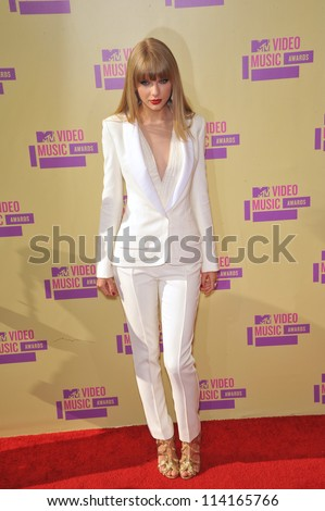 LOS ANGELES, CA - SEPTEMBER 6, 2012: Taylor Swift at the 2012 MTV Video Music Awards at Staples Center, Los Angeles.