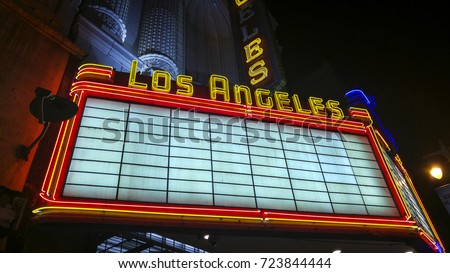 LOS ANGELES, CA, USA - December 29, 2015: The now defunct Los Angeles Theater. Downtown Los Angeles is the central business district and enjoyed it's heyday in the early 1920s. #723844444