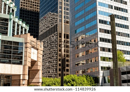 LOS ANGELES, CA, USA - SEPTEMBER 24: Office buildings in downtown LA on September 24, 2012 in Los Angeles, CA. Downtown Los Angeles is the central business and financial district in Los Angeles.