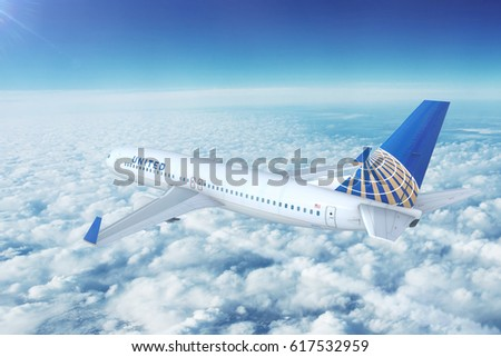 LOS ANGELES/CALIFORNIA - APRIL 8, 2017: United Airlines Boeing 737-800 on approach to runway at Los Angeles International Airport in Los Angeles, California, USA. 3D Illustration