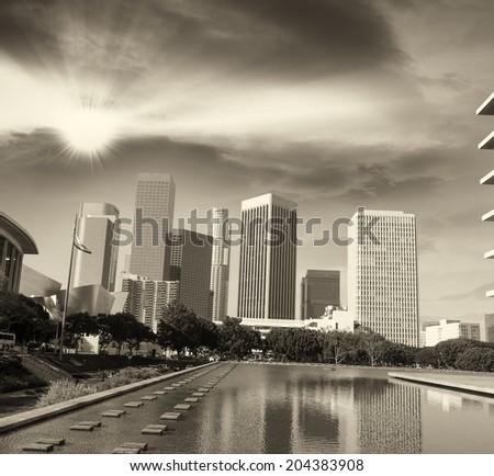 Los Angeles, California. Modern city skyline on a beautiful afternoon.
