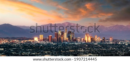 Los Angeles California skyline sunset