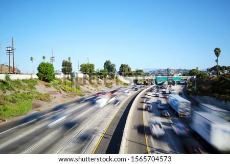 Los Angeles, California - Traffic on Interstate 5, I-5 Highway view from N Broadway – Long Exposure stock photo