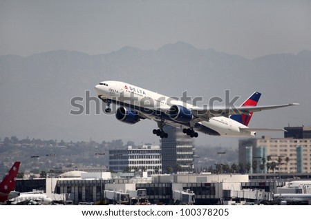 LOS ANGELES, CALIFORNIA, USA - APRIL 16, 2012. A Delta Airlines 777 (N7101DN) takes off from Los Angeles Airport on April 16, 2012.  The plane carries 221 passengers with a range of 8,150 miles.