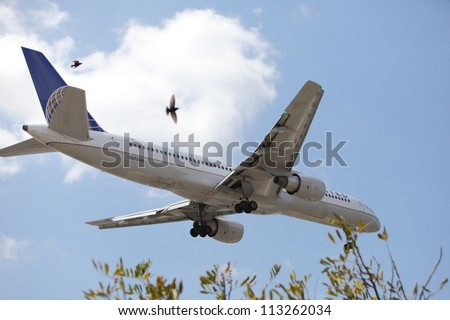 LOS ANGELES, CALIFORNIA, USA - APRIL 27: A United Airlines Boeing 757-222 landing at Los Angeles Airport on April 27, 2012 in Los Angeles, CA.  The plane seats 200 passengers with a range of 3,900 miles.
