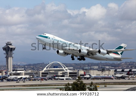 LOS ANGELES, CALIFORNIA, USA - APRIL 12, 2012 - Cathay Pacific B747-8 Freighter jet plane takes off at Los Angeles Airport on April 12, 2012.  The plane is the worlds largest commercial air freighter.