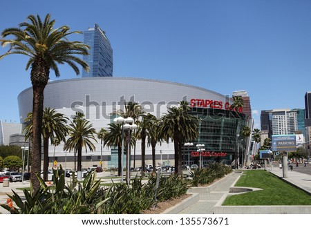 LOS ANGELES, CALIFORNIA, USA - APRIL 16, :The Staples Center in Downtown Los Angeles on April 16, 2013. It is 950,000 SF and is home to the Lakers team and seats up to 19,060 for basketball