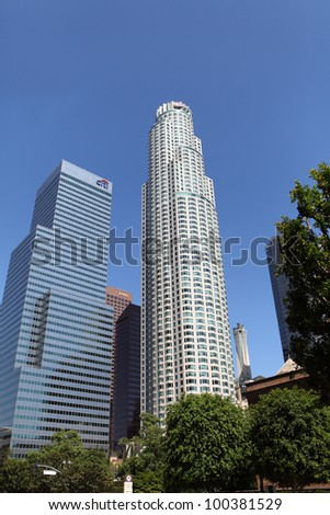 LOS ANGELES, CALIFORNIA, USA - APRIL 15, 2012 - View of Downtown Los Angeles on April 15, 2012.  The 1,018 ft white US Bank Tower is the tallest building west of the Mississippi.